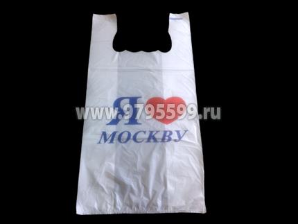 """Пакет-майка """"Я люблю Москву"""", 28х50, белый"""