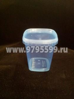 Полипропиленовая пластиковая банка  (440 мл) квадратная